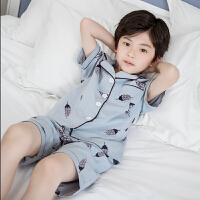 儿童睡衣夏季薄款男童纯棉短袖中大童家居服