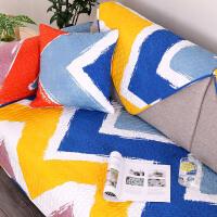七彩祥云沙发垫欧式棉布艺绣花沙发防滑盖巾套彩虹色定制 彩虹