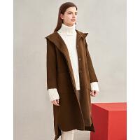 【折扣价:241元】红袖女装系带长款双排扣翻领羊毛大衣