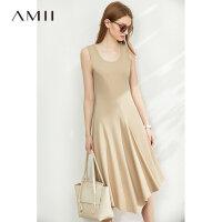 【券后预估价:115元】Amii极简法式气质连衣裙2020夏新款修身圆领不规则无袖背心中长裙