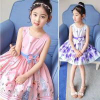 女童裙子夏季新款中大童棉布印花连衣裙儿童公主裙女孩表演花裙子