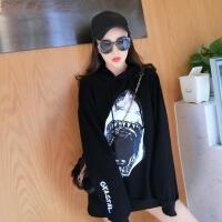 2018春季新款韩版时尚学院风气质印花纯棉宽松连帽卫衣打底外套潮