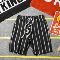 夏季日系条纹休闲短裤男士加肥加大码韩版宽松运动五分裤潮流裤子