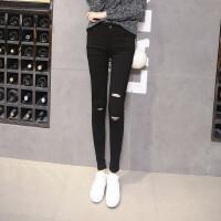 新款韩版大码紧身显瘦小脚裤黑色破洞打底裤外穿女长裤潮春秋