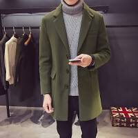 秋冬季韩版男士风衣中长款修身型毛呢大衣男冬天休闲男装呢子外套 墨绿色