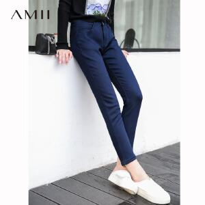 Amii极简韩版ulzzang显瘦牛仔九分裤女2018秋冬新弹力紧身铅笔裤.
