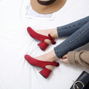 O'SHELL欧希尔新品071-E55日系磨砂绒面中跟女士懒人鞋