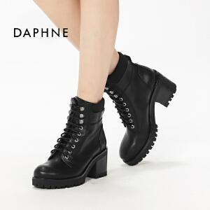 Daphne/达芙妮新品英伦厚底女鞋短靴休闲系带粗跟马丁靴
