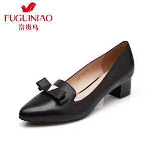 富贵鸟 夏季头层羊皮蝴蝶结装饰橡胶粗跟女鞋女单鞋