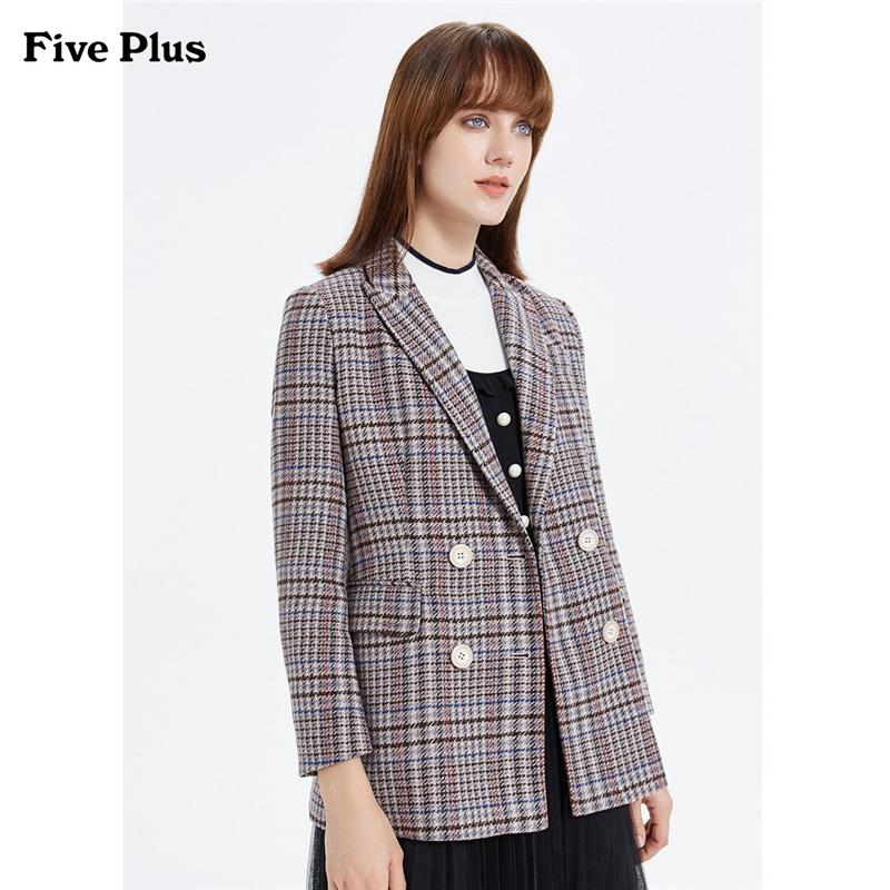 FIVE PLUS2019新款女冬装千鸟格毛呢外套女双排扣西装款收腰中长 千鸟格子毛呢外套