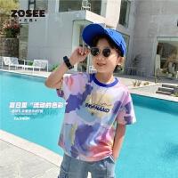 【2件2折】左西童装男童短袖T恤夏装儿童笑脸半袖上衣中大童夏季2021新款潮