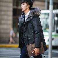 新款冬季男装外套羽绒服男士中长款大毛领修身商务青年加厚潮 黑色 M
