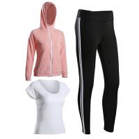 秋冬新款长袖瑜伽服女三件套专业休闲户外跑步外套健身房运动套装