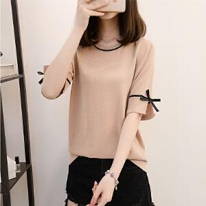 冰丝t恤女短袖夏装2018新款韩版宽松蝴蝶结上衣女亮丝打底体恤衫