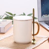 ????镀金马克杯带盖勺创意韩版情侣杯子陶瓷水杯一对办公室定制咖啡杯