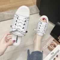 韩版圆头平底女士拖鞋 休闲百搭一字拖女鞋 新款系带白色拖鞋女