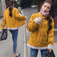 秋冬装新款韩版麂皮绒短外套女羊羔毛拼接棉衣学生上衣潮 XF8655黄色