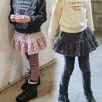 2018秋冬韩版童装拼接女童蕾丝长裤外穿百搭裙裤加绒打底裤假两件