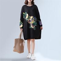 韩版大码女装套头打底衫卫衣加绒秋冬新款中长款胖MM显瘦卫衣裙厚
