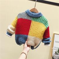秋冬彩虹毛衣新款小童洋气针织衫