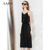 Amii�O�法式V�I吊�нB衣裙2020夏新款黑色�@瘦�面�o袖a字裙子女