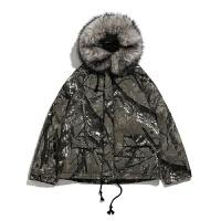 大毛领树枝迷彩泼墨雕中长款棉衣外套 潮牌加厚冬大 迷彩