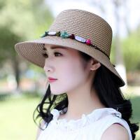 帽子遮阳帽女夏天防晒韩版青年太阳帽遮脸出游中年草帽百搭大沿帽 M(56-58cm)