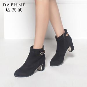 达芙妮正品女鞋秋冬季靴子简约时尚潮流女靴皮带扣圆头粗中跟短靴