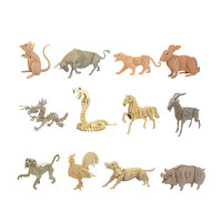 木质十二生肖仿真动物模型拼装儿童玩具智力拼插木制立体拼图