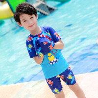 儿童泳衣分体平角短袖男童中大童学游泳衣套装卡通印花三件套