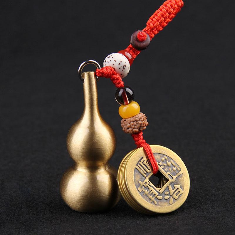 铜葫芦钥匙扣真品五帝钱铜葫芦钥匙扣挂件空心葫芦底部可打开