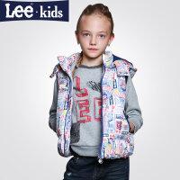 LEE童装冬款女童加棉马甲保暖 中大童儿童时尚休闲马甲外套