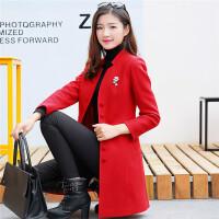 2017秋冬装新款韩版修身中长款女士中年毛妮毛呢外套妮子呢子大衣