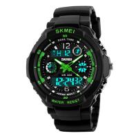 双显手表 男士户外运动登山防水电子表 男学生多功能个性潜水腕表