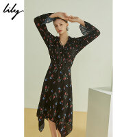 Lily夏女装不规则收腰修身长款长袖连衣裙1190C7181