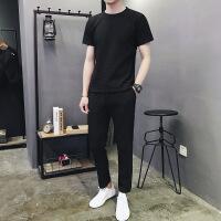 男士t恤运动套装长裤亚麻两件套韩版潮流薄款夏天衣服男