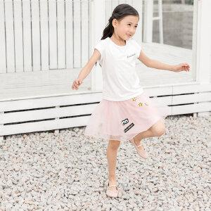 【尾品汇 5折直降】amii童装2017夏季女童短袖t恤新款中大童字母圆领儿童打底上衣