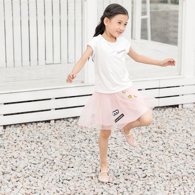 amii童装2017夏季女童短袖t恤新款中大童字母圆领儿童打底上衣