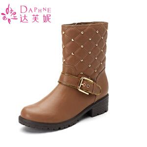 【9.20达芙妮超品2件2折】Daphne/达芙妮女鞋 冬季时尚女靴圆头方跟套筒休闲格纹马丁靴