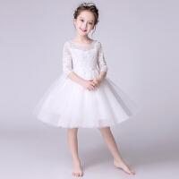 儿童演出服女童小主持人礼服生日钢琴表演服白色花童婚纱蓬蓬裙夏