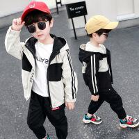 男童外套夏季时尚中大童休闲拼接连帽外套