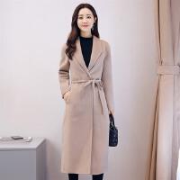 毛呢外套女中长款2017新款18-24岁韩版时尚修身秋冬款呢子大衣女