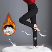 新款羽绒裤女冬季保暖踩脚打底裤女外穿休闲小脚铅笔裤 黑色