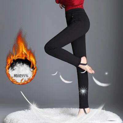 新款羽绒裤女冬季保暖踩脚打底裤女外穿休闲小脚铅笔裤 黑色 一般在付款后3-90天左右发货,具体发货时间请以与客服协商的时间为准