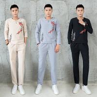 男士长袖T恤两件套装中国风印花 衣服青年大码休闲运动服秋装