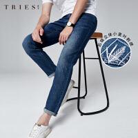 才子牛仔裤男士2020春夏季新款休闲基础复古修身直筒水洗黑色长裤