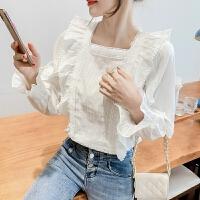 法式方领泡泡袖上衣女秋装2021新款超仙设计感雪纺衬衫9625
