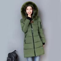 冬新款棉衣女士中长款修身显瘦加厚冬季外套学生羽绒棉袄 毛领款 军绿