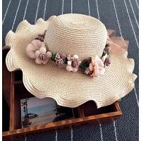 手工花朵花环草帽子 波西米亚沙滩女士大沿帽 夏季新品田园遮阳帽 M(56-58cm)