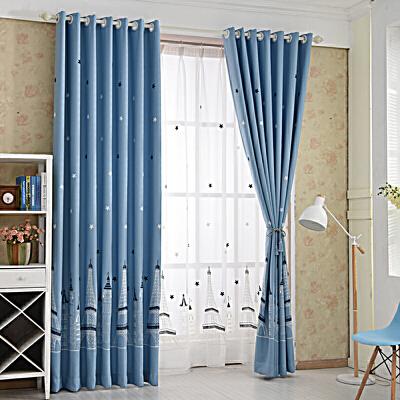地中海蓝色城堡棉麻绣花小男孩卡通儿童房间卧室客厅成品窗帘定制